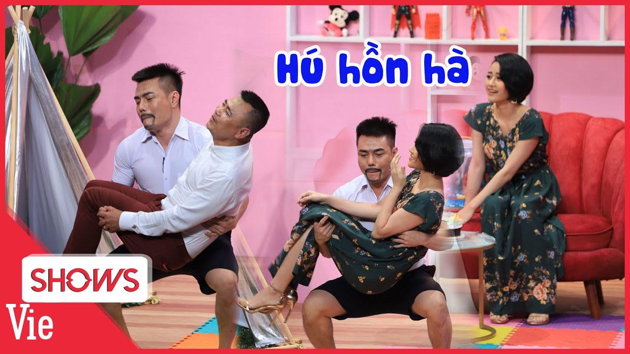 MC Phí Linh toát mồ hôi khi bị vận động viên cử tạ Dương Lâm coi như tạ chống đẩy liên tục