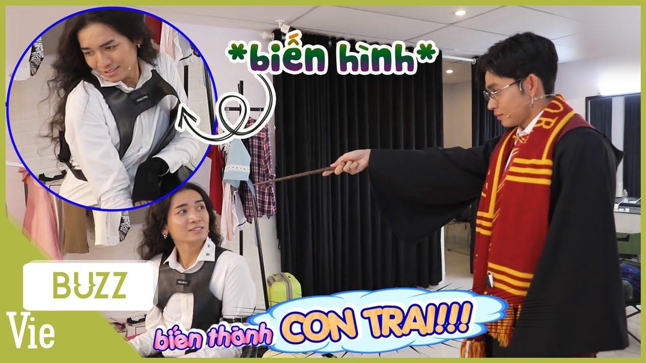 """Jun Phạm biến hình thành Harry Potter , cầm đũa phép biến BB Trần thành """"con trai"""" và cái kết"""