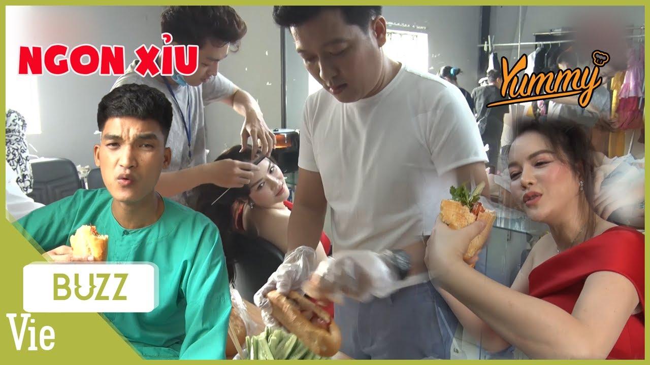 Trường Giang đem nguyên xe bánh mỳ tới đãi anh chị em nghệ sĩ, Lý Nhã Kỳ ăn ngon ko kịp thở